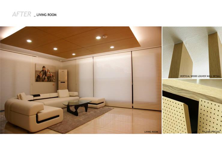 가족의 라이프 스타일과 취향을 담은 아파트 인테리어: 스튜디오메조 건축사사무소의  거실