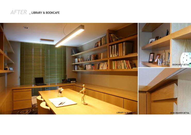 가족의 라이프 스타일과 취향을 담은 아파트 인테리어: 스튜디오메조 건축사사무소의  서재 & 사무실