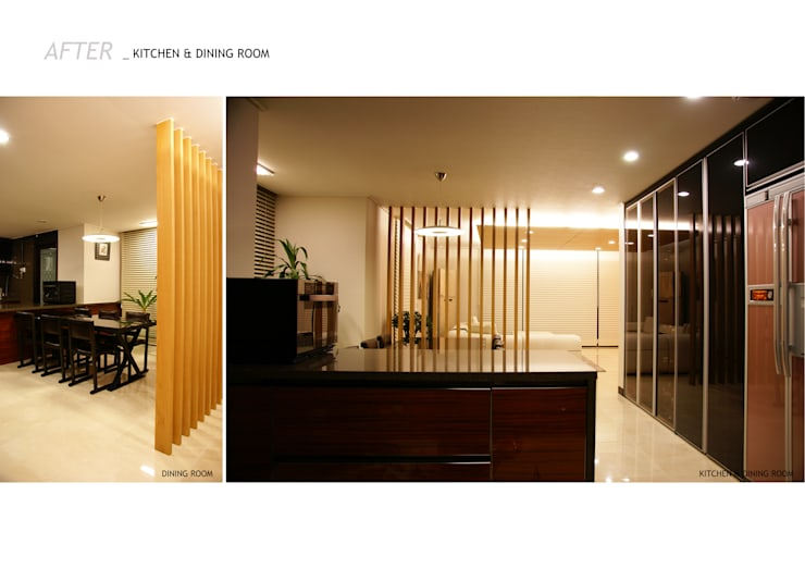 가족의 라이프 스타일과 취향을 담은 아파트 인테리어: 스튜디오메조 건축사사무소의  다이닝 룸
