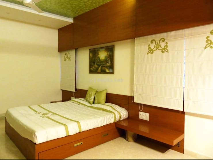 Interiors for a Villa at Ferns Paradise, Bangalore:  Bedroom by Mallika Seth