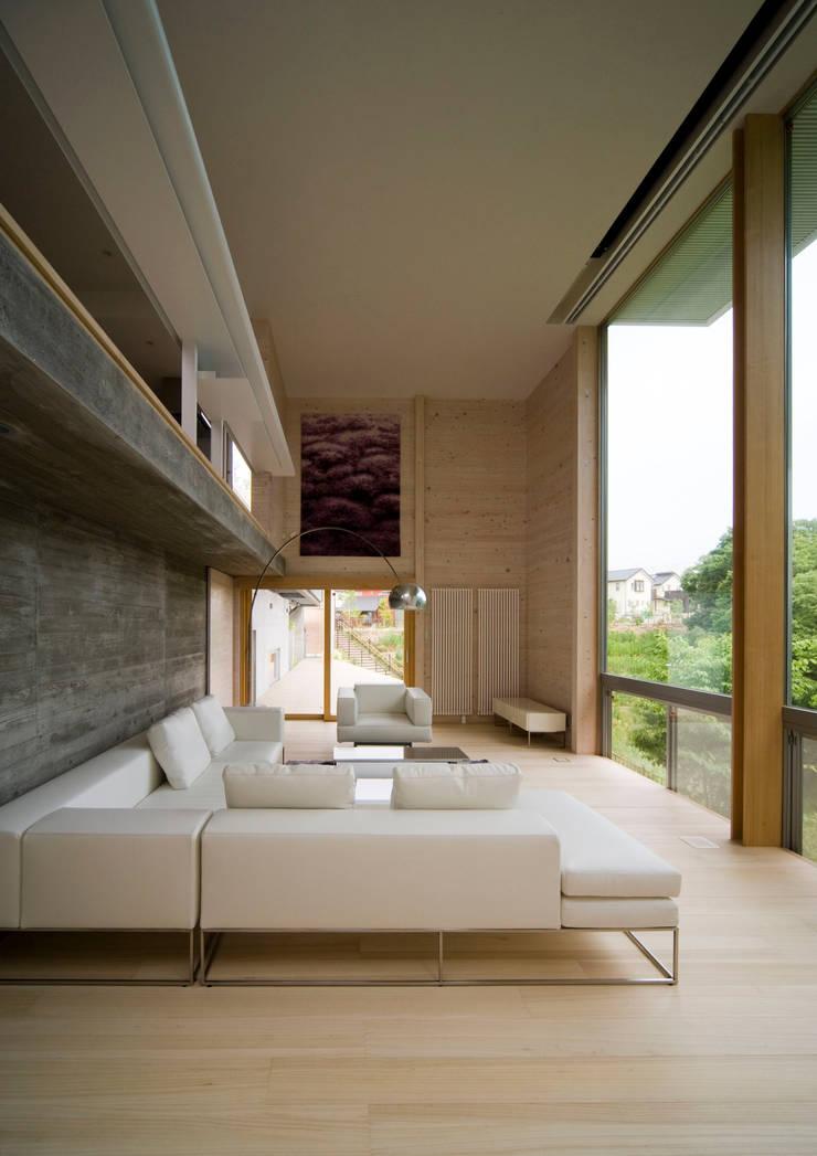 愛車と暮らす家(フェラーリ): Kenji Yanagawa Architect and Associatesが手掛けたリビングです。,モダン 木 木目調