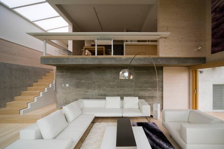 愛車と暮らす家(フェラーリ): Kenji Yanagawa Architect and Associatesが手掛けたリビングです。,モダン コンクリート