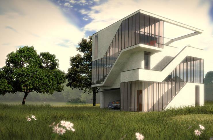 Villa kubuseiland:  Huizen door De Ontwerpdivisie, Modern Beton