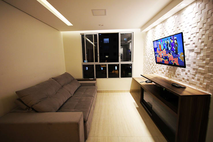 Apartamento AD: Salas de estar  por Tejo Arquitetura & Design