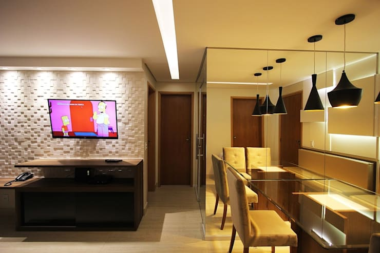 Apartamento AD: Salas de jantar  por Tejo Arquitetura & Design