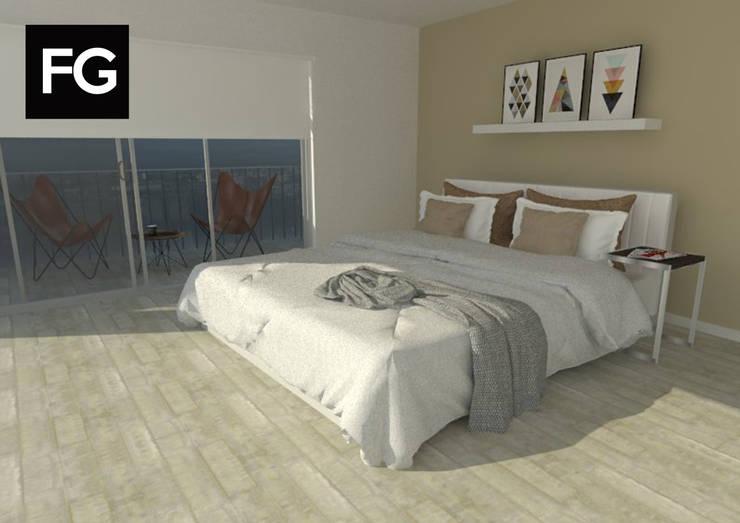 Diseño de interiores departamento: Dormitorios de estilo  por FG ARQUITECTURA E INTERIORISMO,