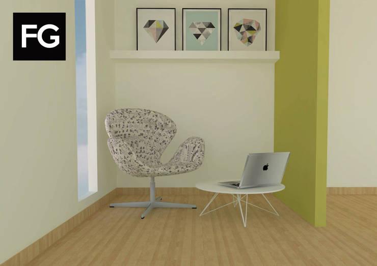 Diseño de interiores departamento: Estudio de estilo  por FG ARQUITECTURA E INTERIORISMO,