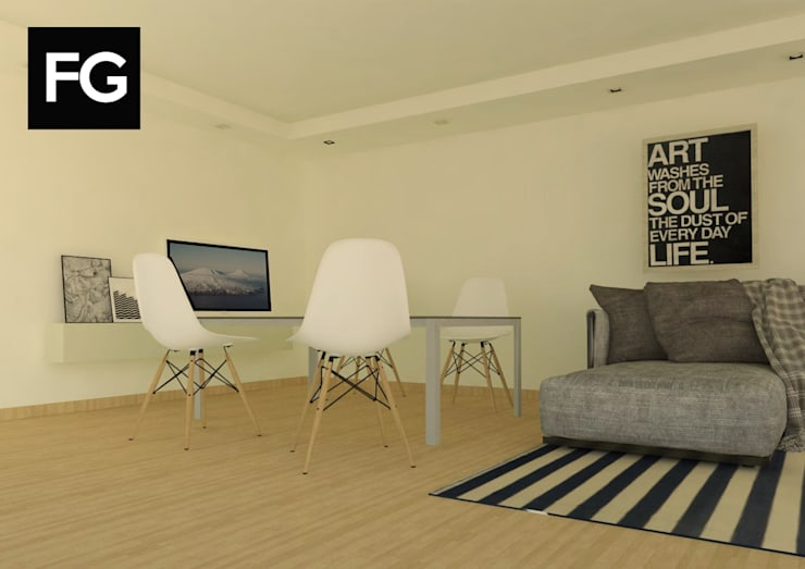 Diseño de interiores departamento: Comedores de estilo  por FG ARQUITECTURA E INTERIORISMO,