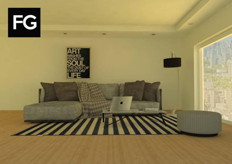 Diseño de interiores departamento: Livings de estilo  por FG ARQUITECTURA E INTERIORISMO,