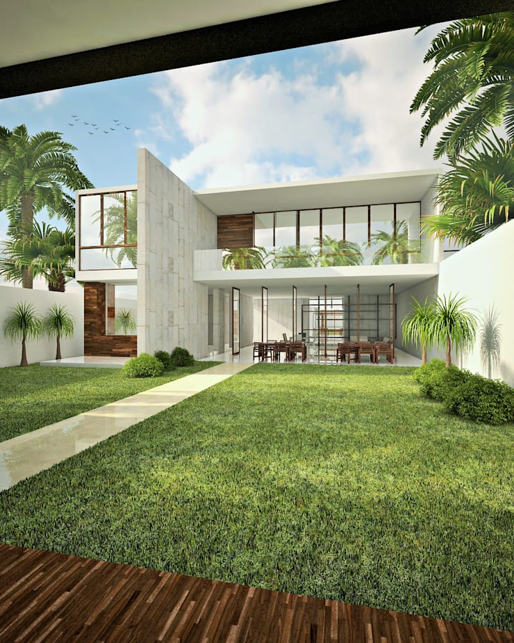 FACHADA TRASERA : Casas de estilo  por CARCO Arquitectura y Construccion