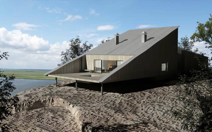 Dom letniskowy na skale: styl industrialne, w kategorii Domy zaprojektowany przez BIG IDEA studio projektowe