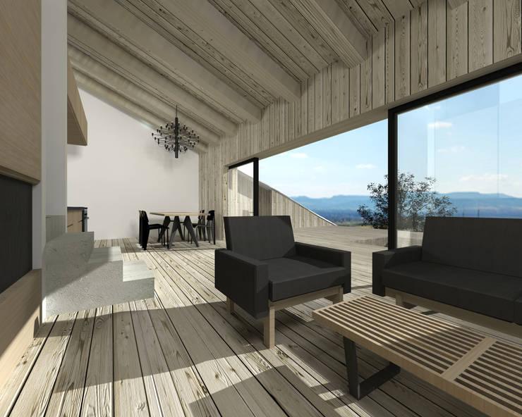 Dom letniskowy na skale: styl , w kategorii Salon zaprojektowany przez BIG IDEA studio projektowe