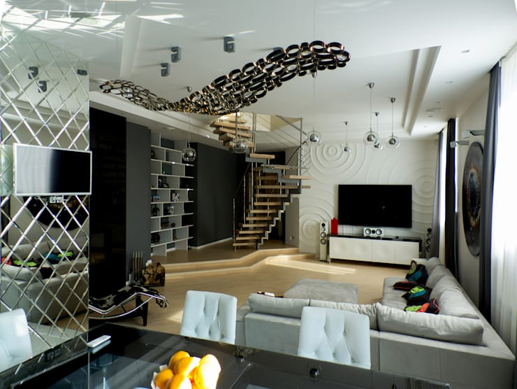 Дизайн-проект двухуровневой квартиры на Каменноостровском: Гостиная в . Автор – DEMARKA