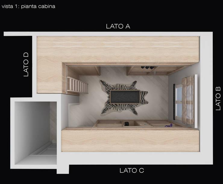 pianta cabina: Camera da letto in stile  di design WOOD,