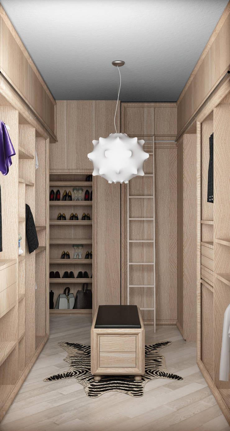 vista lato D: Camera da letto in stile  di design WOOD,