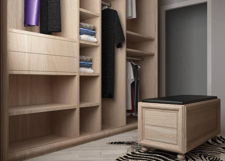 particolare pouf: Camera da letto in stile  di design WOOD,
