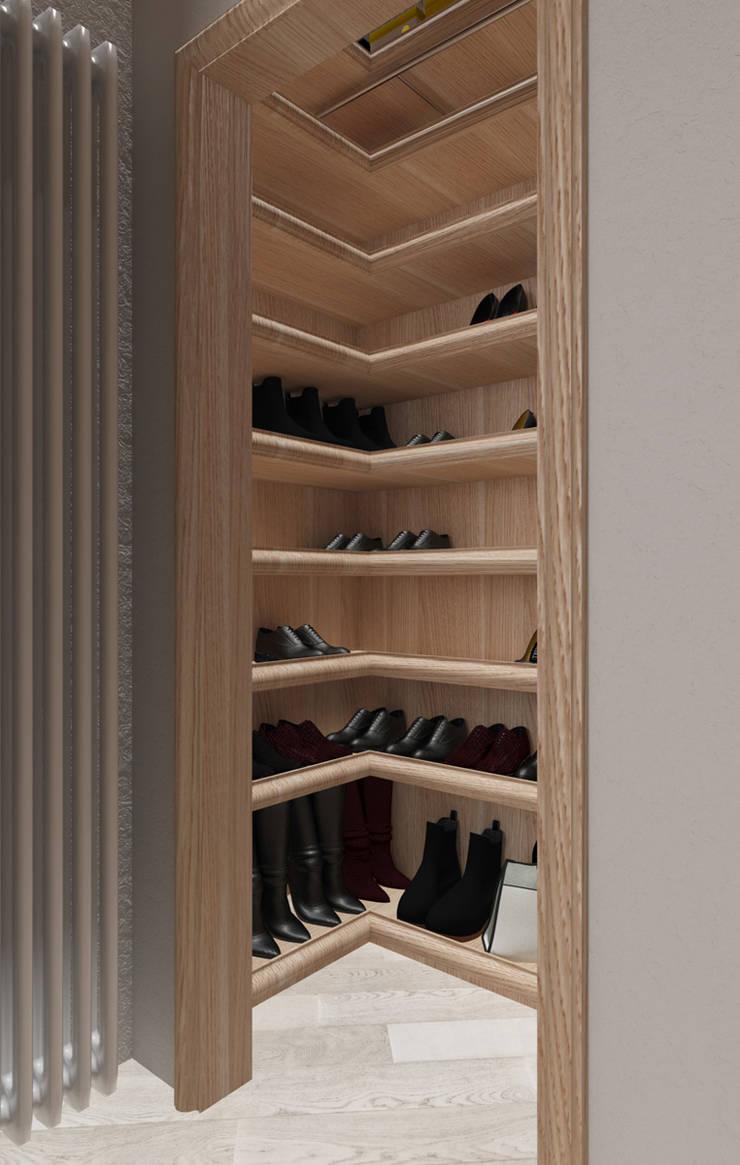 cabina scarpe: Camera da letto in stile  di design WOOD,