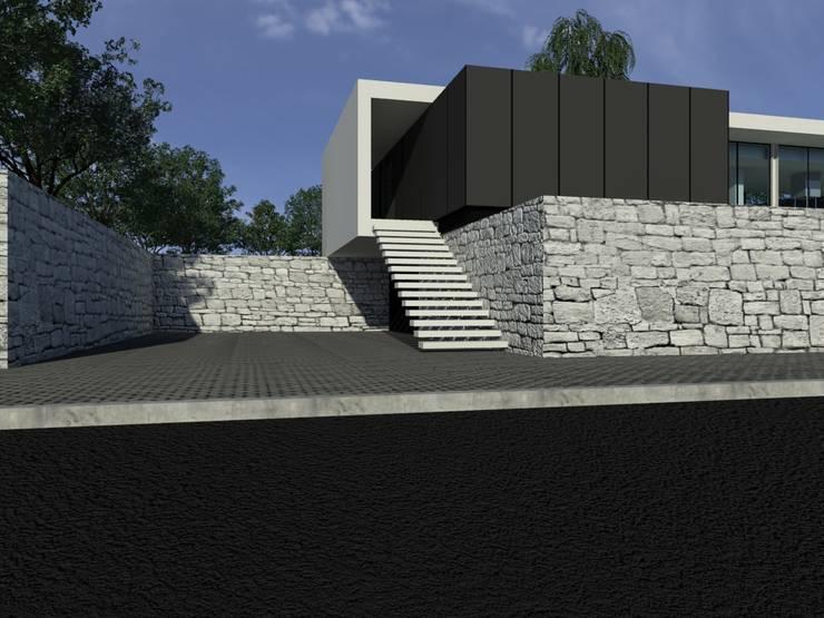 Habitação AJ: Corredores e halls de entrada  por ARTEQUITECTOS
