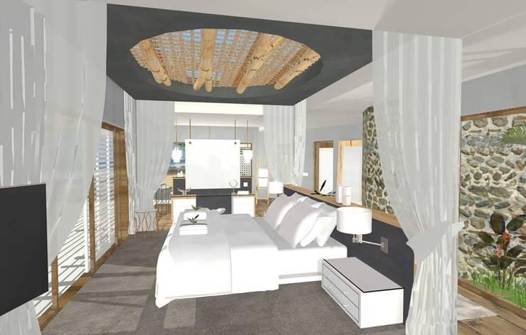 open plan bedroom:  Hotels by Kirsty Badenhorst Interiors