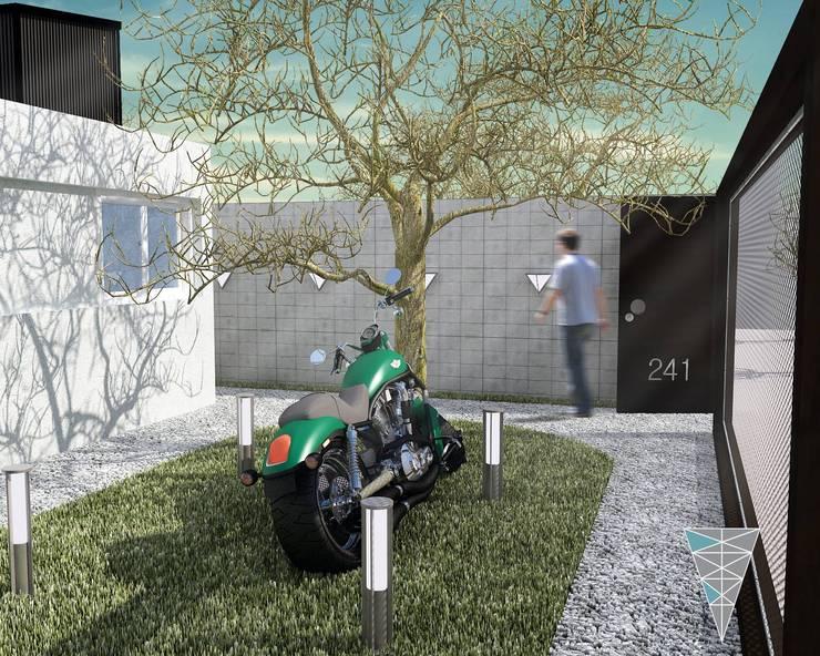 vivienda Pro.Cre.Ar modelo <q>America 2 dormitorios</q> (Modificada): Jardines de estilo  por JUNE arquitectos,