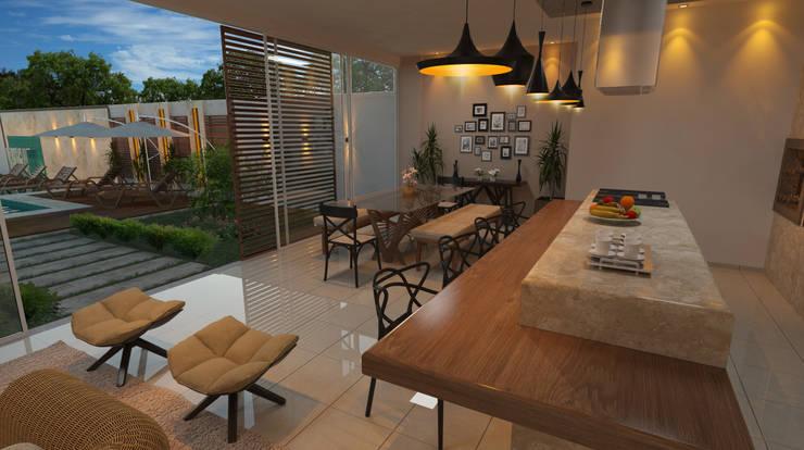 Área de jantar : Garagens e edículas  por  Sotto Mayor Arquitetura e Urbanismo