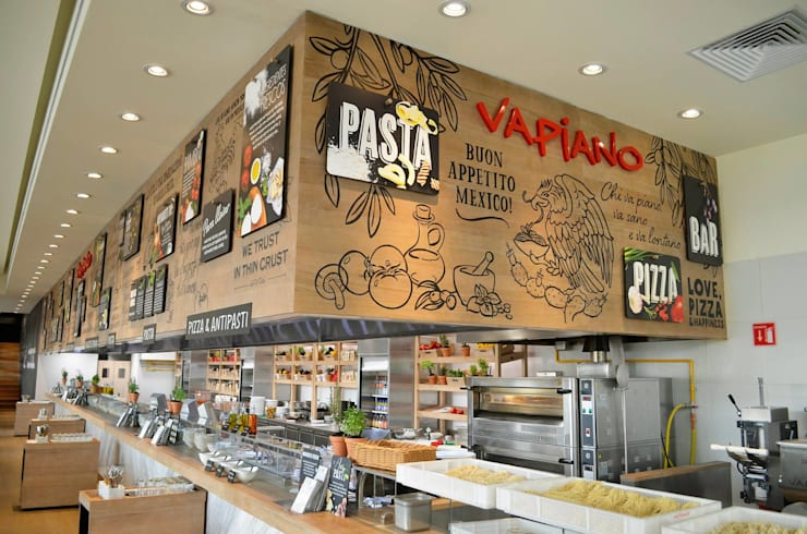 Vapiano Tlalnepantla: Espacios comerciales de estilo  por Sulkin Askenazi