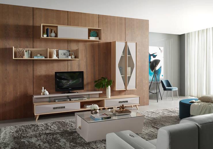 Mobiliário de sala de estar Living room furniture : Sala de estar  por Intense mobiliário e interiores;