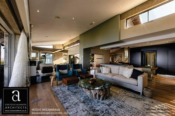 House Wolmarans:  Living room by Coetzee Alberts Architects, Modern