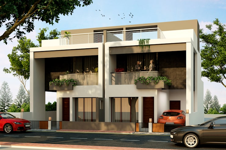 Row House at Indore:  Houses by agnihotri associates,Modern