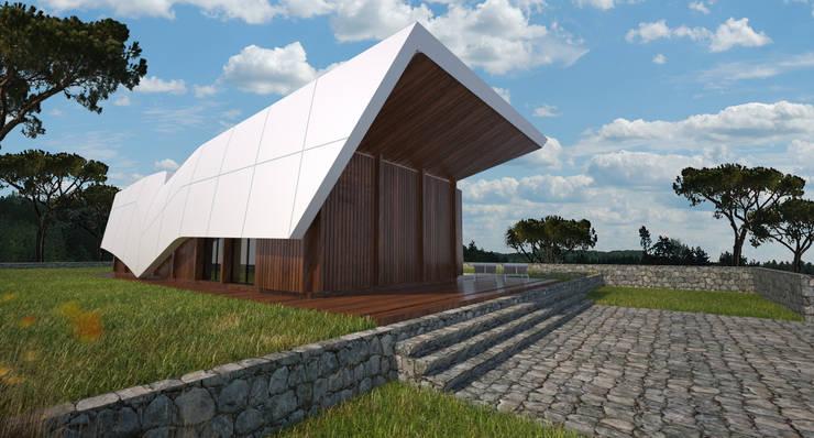 PT - Vista Entrada Principal EN - Entrace View: Casas  por Office of Feeling Architecture, Lda