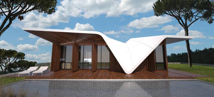 PT - Vista Piscina EN - Swimming Pool View: Casas  por Office of Feeling Architecture, Lda