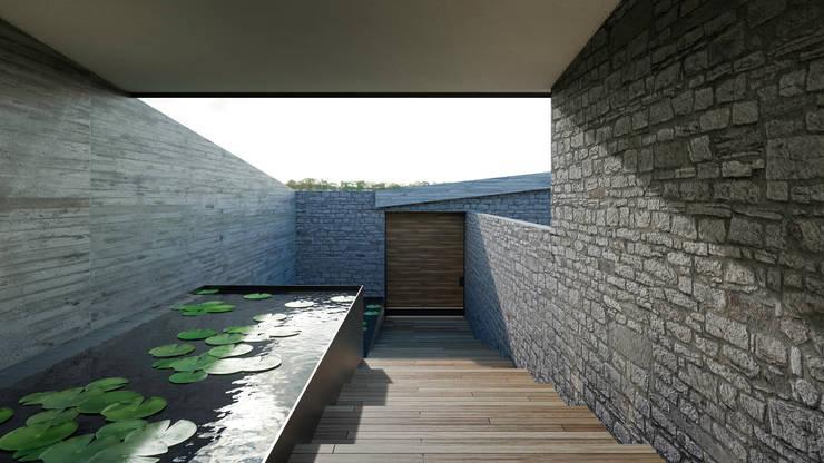 Ingreso Principal: Pasillos y recibidores de estilo  por HAC Arquitectura