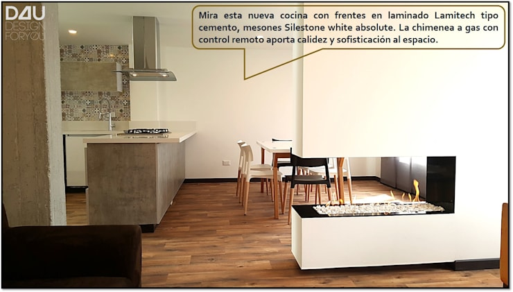 Vista Lateral Comedor / Chimenea: Comedores de estilo  por Design For You SAS