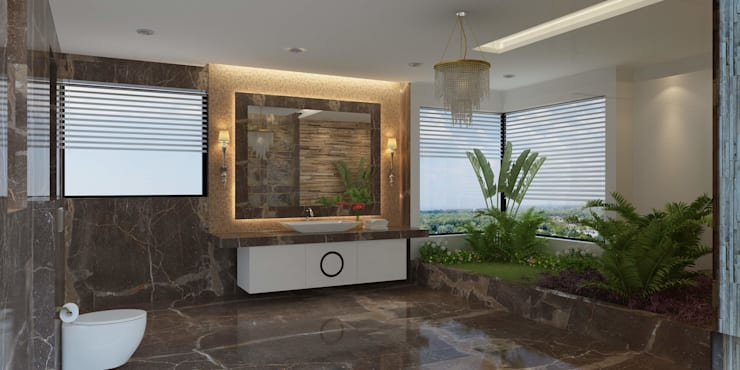 Bungalow at Undri: modern Bathroom by Space Craft Associates
