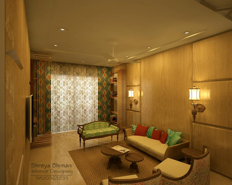 Living Room: modern Living room by Shreya Bhimani Designs