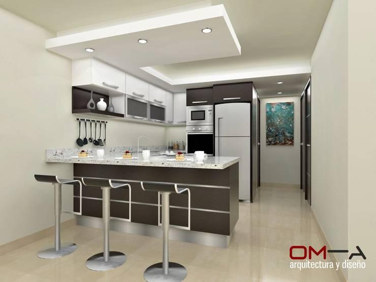 Diseño interior en apartamento, espacio cocina: Cocinas de estilo moderno por om-a arquitectura y diseño