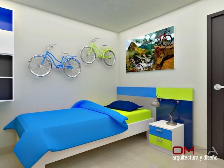 Diseño interior en apartamento, espacio dormitorio de niño: Cuartos infantiles de estilo  por om-a arquitectura y diseño