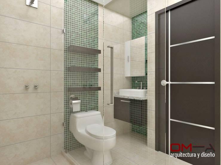 Diseño interior en apartamento, espacio baño secundario: Baños de estilo  por om-a arquitectura y diseño