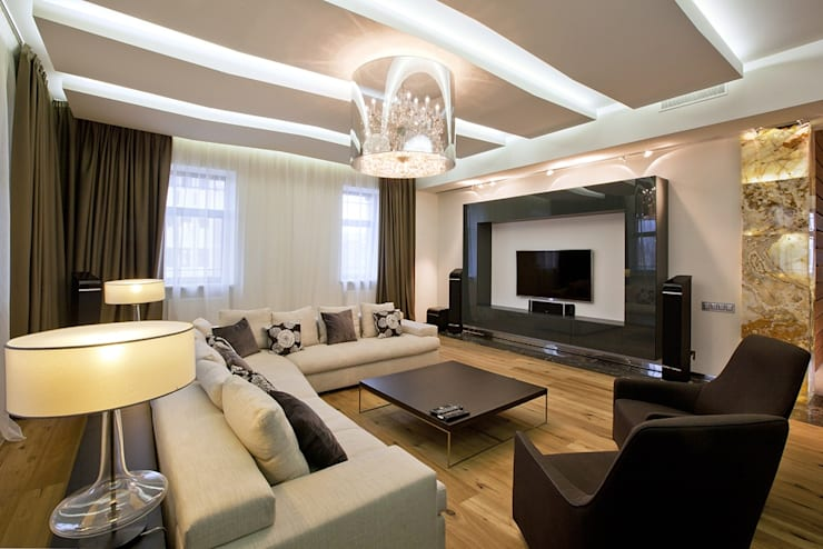Living room by Design studio of Stanislav Orekhov. ARCHITECTURE / INTERIOR DESIGN / VISUALIZATION., Modern