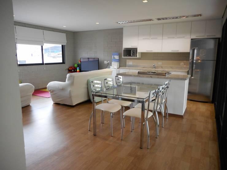 Sala: Salas de jantar rústicas por Metamorfose Arquitetura e Urbanismo