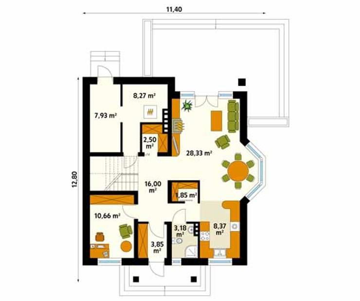 Rzut parteru projektu domu Wilga 2: styl , w kategorii Ściany zaprojektowany przez Biuro Projektów MTM Styl - domywstylu.pl