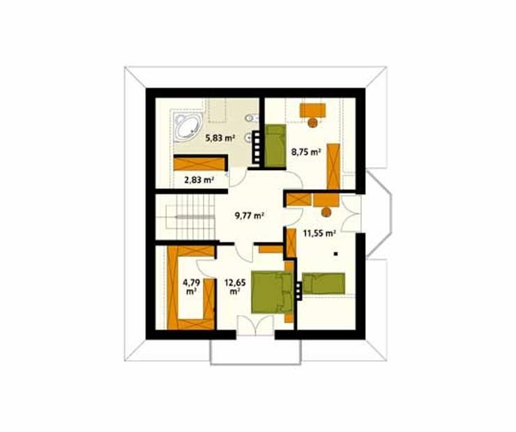 Rzut poddasza projektu domu Wilga 2: styl , w kategorii Ściany zaprojektowany przez Biuro Projektów MTM Styl - domywstylu.pl
