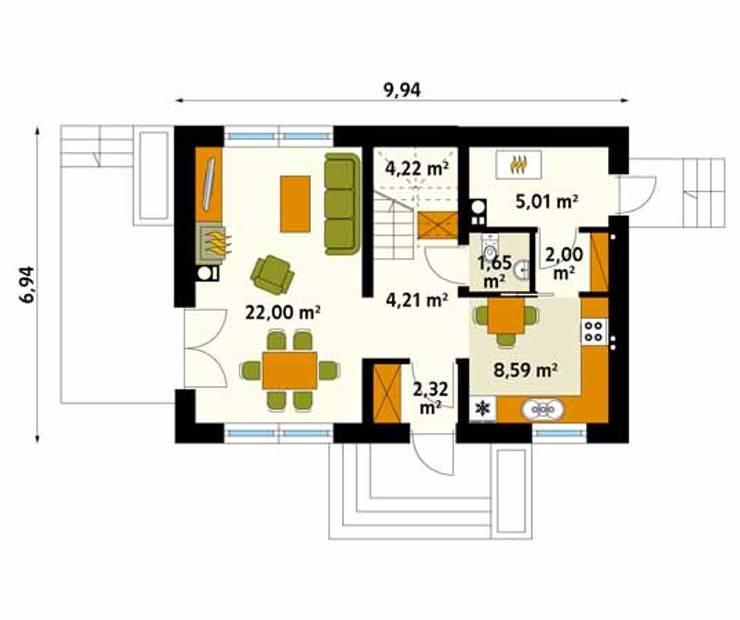 Rzut parteru projektu domu Bez: styl , w kategorii Ściany zaprojektowany przez Biuro Projektów MTM Styl - domywstylu.pl