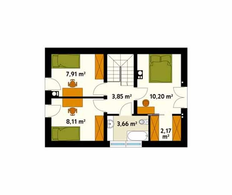 Rzut poddasza projektu domu Bez: styl , w kategorii Ściany zaprojektowany przez Biuro Projektów MTM Styl - domywstylu.pl