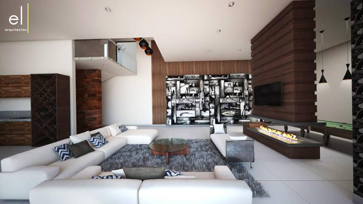 Casa Popotla: Salas multimedia de estilo  por ERIKA LIN