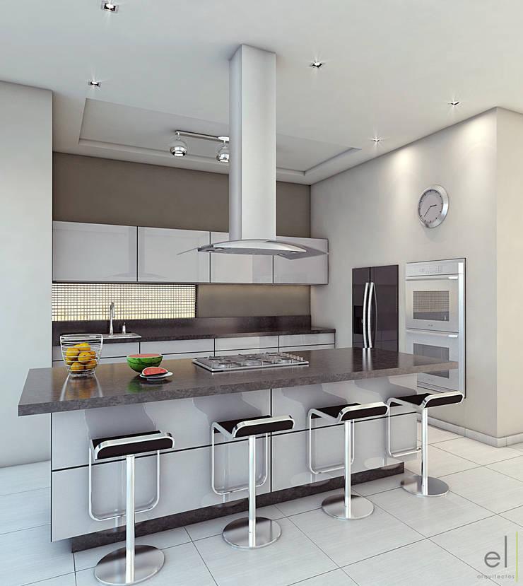 Casa Zibata: Cocinas de estilo  por EL arquitectos