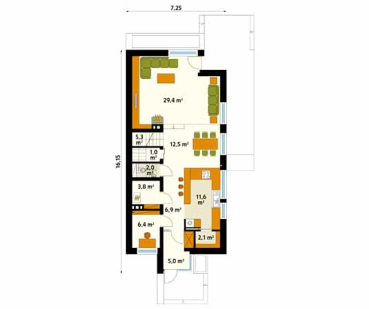 Rzut parteru projektu domu Amelia: styl , w kategorii Ściany zaprojektowany przez Biuro Projektów MTM Styl - domywstylu.pl