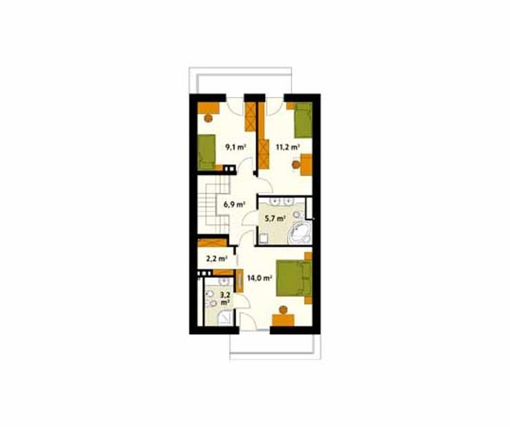 Rzut poddasza projektu domu Amelia: styl , w kategorii Ściany zaprojektowany przez Biuro Projektów MTM Styl - domywstylu.pl