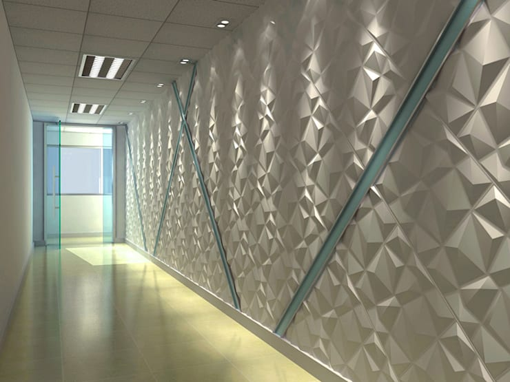 Paredes Decorativas 3D DIAMOND:   por A EXCLUSIVA - Sustainable Buildings Materials,Moderno Fibra natural Bege