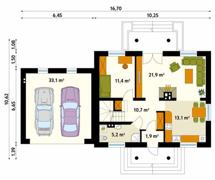 Rzut parteru projektu domu Azalia 3: styl , w kategorii Ściany zaprojektowany przez Biuro Projektów MTM Styl - domywstylu.pl,Klasyczny